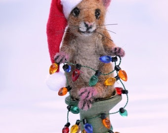 Holiday Lights Mouse Realistic Life Size Tan Alpaca & camel Needle Felted Vintage Wooden Thread Spool Mini Lights
