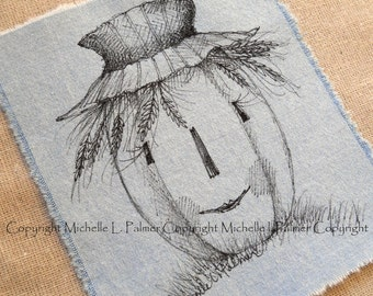 Large Original Pen Ink on Fabric Illustration Quilt Label by Michelle Palmer Scarecrow Harvest Halloween Pumpkin Jack O Lantern