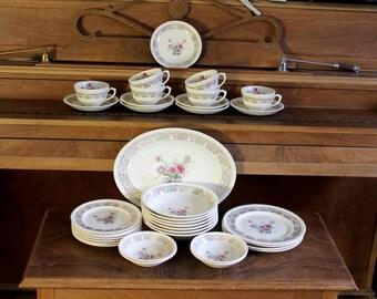 vintage 1960's Sovereign Potters Snowhite dish set,35 pieces,tea cups,saucers,dessert plates,soup bowls,service plate,bread plate,