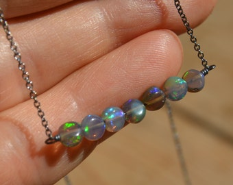 Smoked Opal Bar Necklace