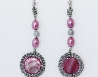 Fuchsia Pink Shell and Gray Glass Seed Bead Brick Stitch Earrings