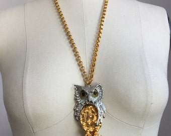 Big Vintage 1970's Articulated Silver and Gold Owl Pendant Statement Necklace w/ Glass Eyes