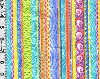 Fabric Quilting Treasures Jewels of the Sea STRIPE Coordinate bright colors lengthwise stripe
