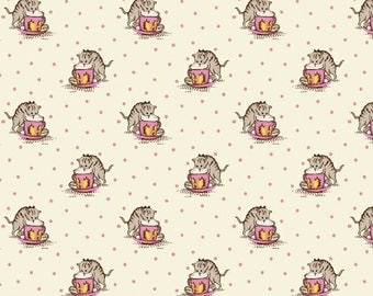 Fabric Marcus Aunt Grace 30s Repro collection Judie Rothermel cats kittens drinking from tea cups pink on cream  6266-0376