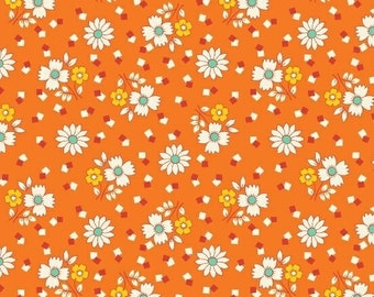 Fabric Marcus Aunt Grace 30s Repro collection Judie Rothermel small flowers on orange 6258-0328