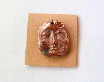 Copper Raku Fired Clay Face Pendant Finding