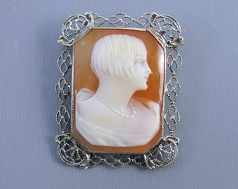 Vintage Art Deco 14k white gold filigree flapper girl roaring 20s 1920s cameo brooch pin