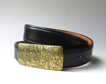 vintage Coach Black French Calfskin Leather Belt with Foliage Etched Solid Brass Buckle