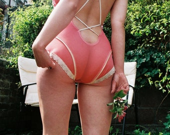Peachy Keen Mesh and Vintage Lace  Lingerie Teddy