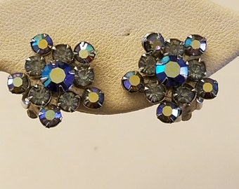 Weiss Blue Aurora Borealis Vintage Earrings