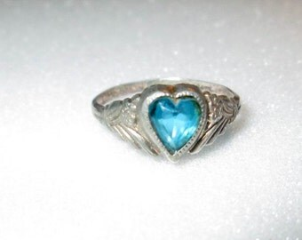 RING - Blue TOPAZ -BABY - Heart - Knuckle - 925 - Sterling Silver  - size 2 1/2 blue196