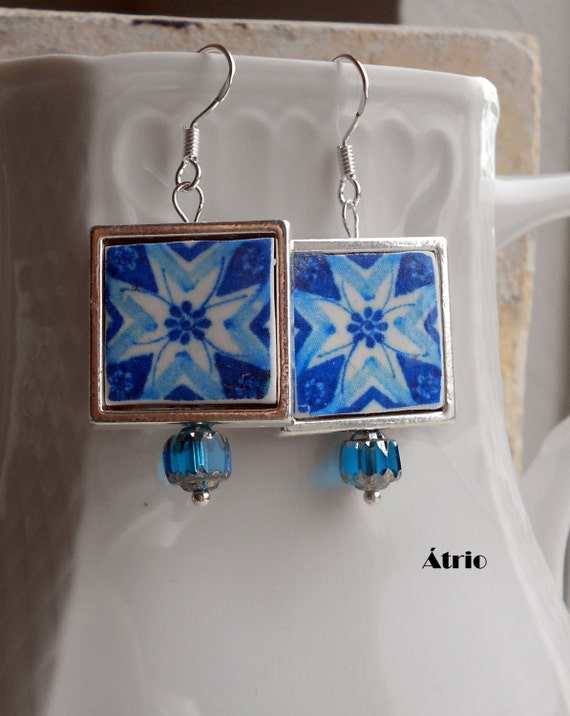 Portugal Blue Azulejo Tiles Replica 925 Silver Framed Earrings - PORTO (see actual Facade photos) waterproof and reversible 719 Silver