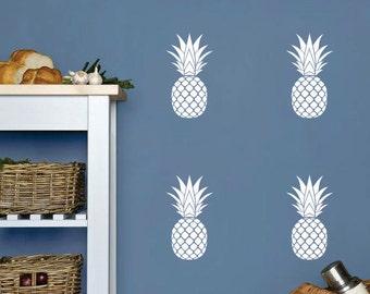 Pineapple wall decal, vinyl pineapple, hawaiian decor, vinyl wall decal, tropical fruit, preppy pineapple, wall art, pineapple sticker art