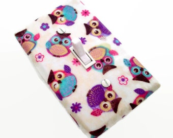 Owl Switch Plate Cover - Baby Girl Owl Nursery Decor - Woodland Light Switch Cover - Purple Pink Bedroom - Owl Nursery Decor - Girls Bedroom