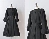 Vintage 1940s Black Wool Princess Coat / 40s Princess Coat / Black Princess Coat / Star Gazer