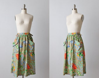 Vintage Wrap Style Skirt / 1980s Wrap Style Skirt / Cotton / Pockets / Butterfly Print