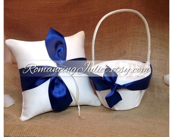 Knottie Style Flower Girl Basket and Ring Bearer Pillow Set...You Choose The Colors..shown in ivory/navy blue