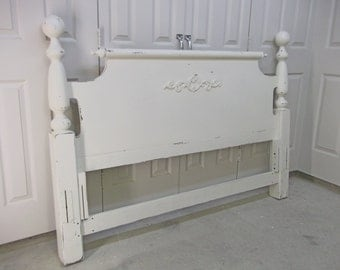 FULL/QUEEN Headboard, Distressed White Cottage Style  - Chic BD102 Shabby Farmhouse Chic