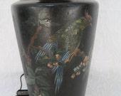 Art Deco Era Hand Painted Lamp Bird Cherry Blossom Wood