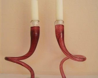 Pair Spiral Hand Blown Candle Holders by Artisan Michael Hudson Rose Glass Modern
