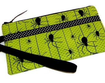 OH SPIDERS Halloween WRISTLET Zippered Pouch Detachable Strap Green & Black Cotton Gray Mountain Purse-a-nalities