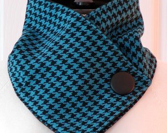 UNISEX Houndstooth Check NECKWARMER Wool & Fleece Black/Deep Turquoise Cowl Scarf Men/Women Cozy Warm Large Button Accent