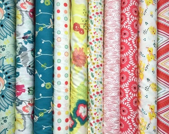 Set of 10, Pat Bravo fabrics, Rapture fabrics, your choice of cut (fat quarter,half yard, or yard cut)
