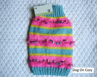 Colorful Dog Sweater, Hand Knit Pet Sweater, Size XSMALL, Confetti