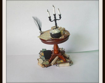 dollhouse Witch miniatures table set ooak wizard overloaded potion glow in dark