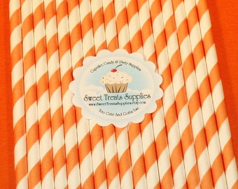 NEW - Bright Orange Striped Straws  (Qty 25)  DIY Flag Toppers - Straws, Bright Orange Straws, Striped Straws, Paper Straws, Milkshake Straw