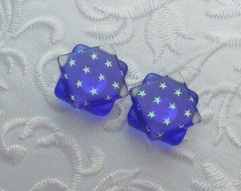 Red White Blue Earrings - 4th Of July - Stars - Flag - Dichroic Fused Glass Post Earrings - Stud Earrings - Dichroic Earrings X1229