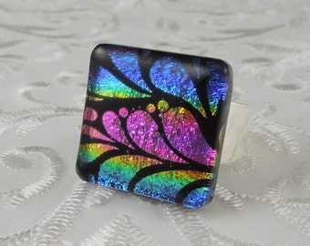 Dichroic Fused Glass Ring - Glass Ring - Fused Glass Ring - Metal Ring - Geekery Jewelry - Dichroic Jewelry - Large Jewelry X4764