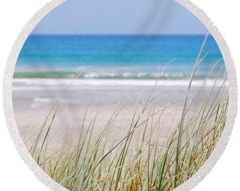 Round beach towel, beach scene towel, round beach style towel, beach print, poolside towel, sea grass round towel, round picnic towel