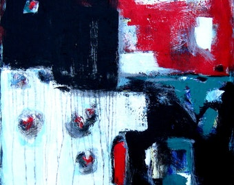 """Original abstract painting on canvas, Red, Black, Turquoise, White, 30"""" x 30"""", Modern home decor, contemporary wall decor, gift idea"""