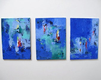 "Set of 3 blue abstract acrylic paintings on canvas, small triptych, turquoise fine art, Original Expressionist wall art, 5"" x 7"", gift idea"