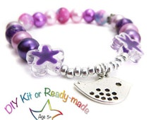 DIY Girl Bracelet Making Kit -   Beaded Stretch Bracelet Kit - Choice of colours, One Glittering Jewelz jewelry kit -  jewelry making kit UK