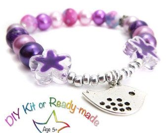 DIY Girl Bracelet Making Kit -   Beaded Stretch Bracelet Kit - Choice of colours, One Glittering Jewelz jewelry kit -  jewelry making kit UK