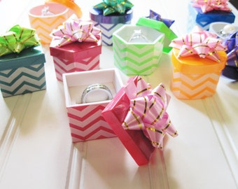 Chevron 2 Piece Ring Boxes with Bows Lot of Nine  Assorted Shapes and Colors