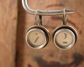 Typewriter Key Jewelry - Type Key Earrings - Vintage - Shabby Glass Top Antique Brass Leverback Earrings - Punctuation Keys -