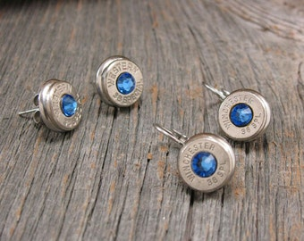 Bullet Jewelry - SEPTEMBER Birthday - SUPERIOR QUALITY Stainless Steel Bullet Casing Studs or Leverbacks with Sapphire Swarovski Crytals