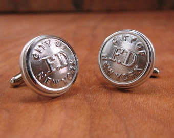 Button Jewelry - Authentic Fireman Uniform City of New York FD Coat Button Cuff Links - Silver Cuff Links - Remembering 9/11 - Gift for Man