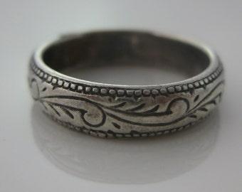 Size 6.5 Vintage Sterling Silver Flower Ring Band