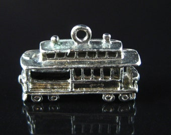 Charm, Sterling Silver, Silver Trolly, Transportation, Cable Car, Travelers, 3D Charm