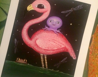 Pink Flamingo, Octopus and a Frog Print by Patti Backer