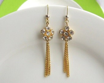Flower Style Crystal Gold Plated Earrings