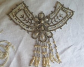 Vintage Beaded Applique Glass Seed Beads, Bugle Beads and Faux Pearl Tassels