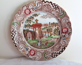 Brown Transferware Plate Multi Colors Landscape by W.R. Midwinter England Circa 1910-1932