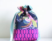 drawstring project bag knitting project bag drawstring pouch knitting pouch drawstring tote - dark floral - ready to ship