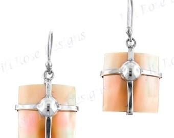 "9/16"" Gold Abalone Shell 925 Sterling Silver Earrings"