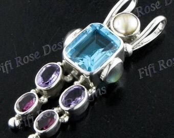"1 7/8"" Mixed Gemstone Biwa Pearl 925 Sterling Silver Pendant"